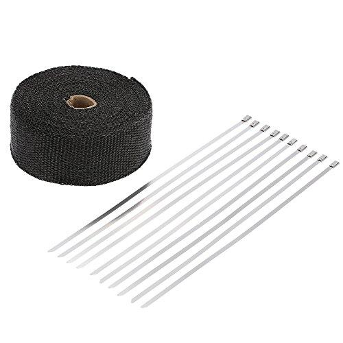 Hitze Ummantelung Auspuff Glasfaser Wärme Isolierung Band mit Kabelbinder 10 M