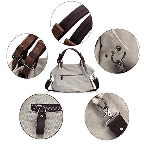 Damen Segeltuch Schultertasche, Canvas Tasche, Top Handtasche aus echtem Leder, Vintage Umhängetasche, Crossbody Einkaufstasche mit abnehmbarem Tragegurt, übergroßer Geldbeutel mit Reißverschluss, für Grau weiß