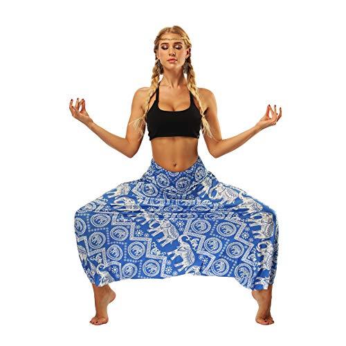 QXXNB Pantalones de Harem Bohemios para Mujer, Cintura elástica Hippy Boho Style...