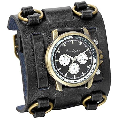 JewelryWe Reloj de Pulsera Grande Negro de Estilo Gótico Punky Hip-Hop para Hombres Chicos, Correa de Cuero Ancha de Moda Retro Punk Rock