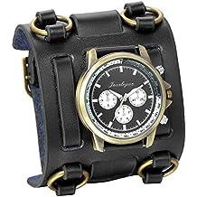 JewelryWe Reloj de Pulsera Grande Negro de Estilo Gótico Punky Hip-hop para Hombres Chicos