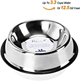 Stainless Steel Dog Bowls With Rubber Base Non-Skid Classical Food Bowl,Water Bowl For All Pets Rust Resistant (Various Sizes Available) By