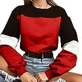 Bauchfreier Pulli Mädchen, Damen Pullover Bauchfrei Langarm Bandage Spleißen Sweatshirt Kurz Crop Tops Oberteile Sweatjacke Shirts Hemd Bluse (Rot, L)