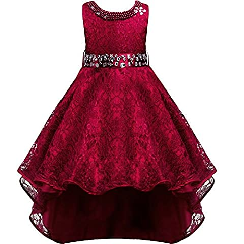 Flower Girls Vintage Overlay Lace Beaded Rhinestone Bridesmaid Wedding Tulle Dresses Party Maxi High Low Ball Gown Pageant Evening Fancy Dance Tutus Princess Dress Burgundy 7-8