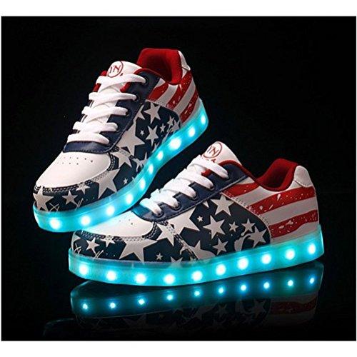Unisex kleines Luminous Star junglest® Schuhe Frauen Glow Männer American Lade Usb present Handtuch Flagge Leuchten Freizeitschuhe Led Rot qtA67gnxdx