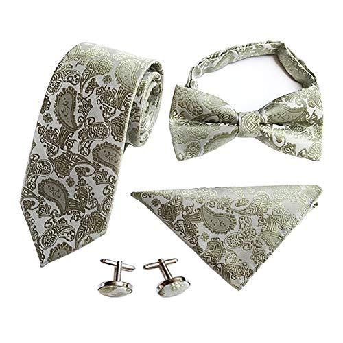 Showu Männer Paisley Krawatte Set Hochzeit Krawatte Manschettenknöpfe Taschentuch und Krawatte Clip inkl. Geschenkbox (SJT-W08)