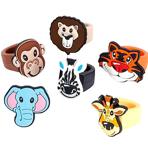 German Trendseller® - 8 x Safari Ringe ┃ Dschungeltiere ┃ Löwe ┃ Zebra ┃ Elefant ┃ Giraffe ┃ AFFE┃ Tiger ┃Der Knüller zum Kindergeburtstag ...