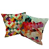 "Coolsummer 2 Pcs - 18"" x 18"" All sorts of animals geometric design Theme Sea Style Linen Square Throw Pillow Case Decorative Cushion Cover for Sofa Chair (UKS021A3)"