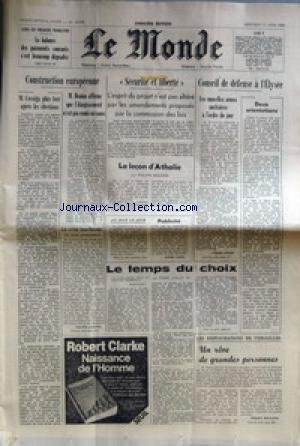 MONDE (LE) [No 10998] du 11/06/1980 - CONSTRUCTION EUROPEENNE - M DENIAU - M. COSSIGA PLUS FORT APRES LES ELECTIONS - SECURITE ET LIBERTE - LA LECON D'ATHALIE PAR BOUCHER - CONSEIL DE DEFENSE A L'ELYSEE - LE TEMPS DU CHOIX PAR JUILLET - LES RESTAURATIONS DE VERSAILLES.