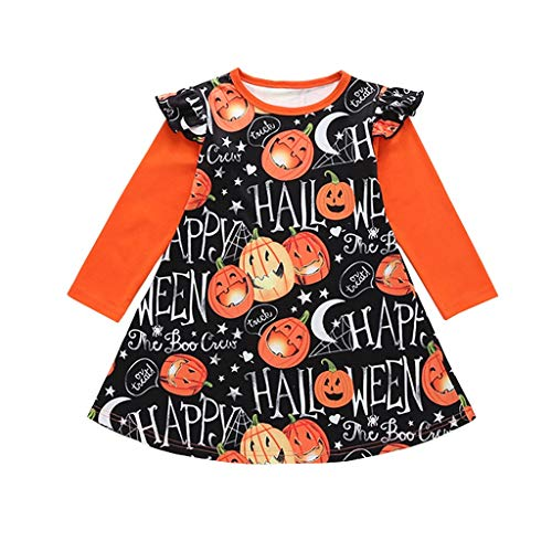 WQIANGHZI Kinder Langarm Halloween Kostüm Top Set Baby Kleidung Set Kleinkind Infant Baby Mädchen Kürbis Geist Print Kleider Halloween Kostüm Outfits