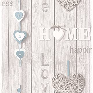 BHF FD41719 Love Your Home Wallpaper - Blue/White (2-Piece)