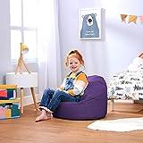 Bean Bag Bazaar Pouf Poire Enfant - 58cm x 42cm, Petit Moyen Fauteuil Enfant (Violet, 1)