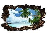 3D Wandtattoo Palmen Meer Strand Wasser Sand Wandbild sticker selbstklebend Wandmotiv Wohnzimmer Wand Aufkleber 11E630, Wandbild Größe E:ca. 168cmx98cm