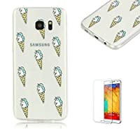 For Samsung Galaxy S7 Edge Case [with Free Screen Protector], Funyye Fashion lovely Lightweight Ultra Slim Anti Scratch Transparent Soft Gel Silicone TPU Bumper Protective Case Cover Shell for Samsung Galaxy S7 Edge - ice cream