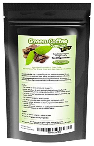Grüner Kaffee Extrakt - Green Coffee Complex PRO 6000mg Dosis + 22 Nützliche Extra-Zutaten - 30 Tage Vorrat