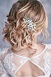 Simsly, Fermaglio per capelli con motivo floreale argentato e perle, accessorio per capelli per sposa e damigelle