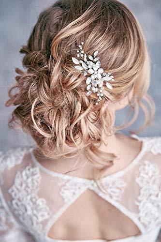 Simsly Crystal wedding Hair pins argento foglia fermagli per capelli da  sposa accessori per capelli perla efc1797506d4