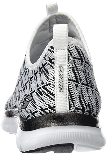 Skechers Flex Appeal 2.0, Sneakers Basses Femme Blanc (Wbk)