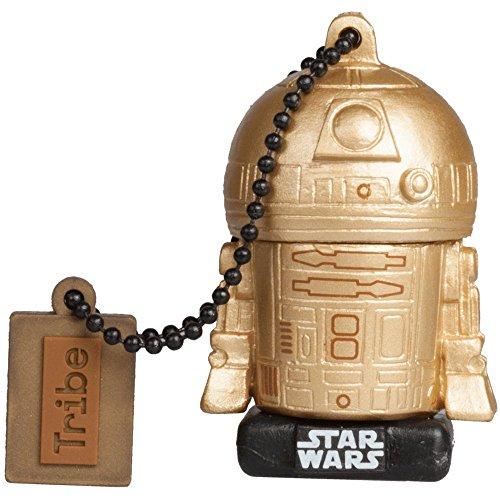 Tribe Star Wars 8 R2D2 Gold USB Stick 16 GB Speicherstick 2.0 High Speed Pendrive Memory Stick Flash Drive, Lustige Geschenke 3D Figur, USB Gadget aus Hart-PVC mit Schlüsselanhänger (Starwars Usb-port)