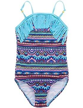 Attraco Mädchen Bunt Einteiler Tribal Badeanzug Quaste Mehrfarbig