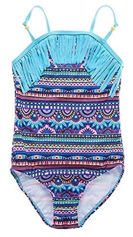 Attraco Mädchen Bikini Bunt Einteiler Tribal Badeanzug Mädchen Tankini Quaste Mehrfarbig Blau 5-6 Jahre
