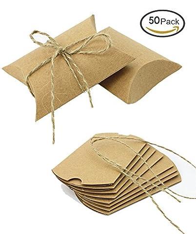 Dikete® 50pcs Craft Paper Candy Box fête de mariage anniversaire cadeaux à dragées Bonbons Boîte de taie d'oreiller avec ficelle de jute Craft Paper