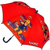 Unbekannt Regenschirm -  Feuerwehrmann Sam Jones  - incl. Name - Kinderschirm Ø 69 cm - Kinder Stockschirm - Regenschirm - Schirm für Jungen - Kinderregenschirm / Glo..