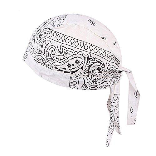 VRTUR Beach Modisches Bandana Kopftuch Bandana Cap 100% Baumwolle in über Verschiedenen Farben und Mustern Hut(One size,Weiß)