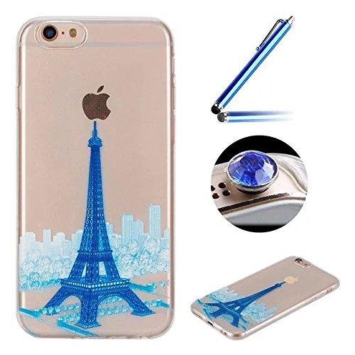 Etsue Custodia iPhone 6 Trasparente,Colorate Dipinto Modello Con Disegni,iPhone 6S Cover in Silicone Tpu Flessible Sottile Antiscivolo e Antigraffio Protettivo Cover Bumper Case Per iPhone 6/6S 4.7+Bl blue Tower