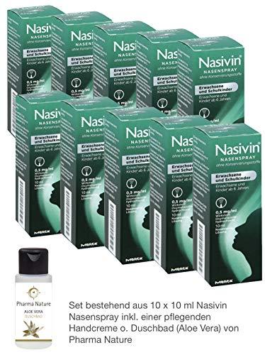 Nasivin 10 ml - 10er Sparset - inkl. einer hochwertigen Handcreme o. Duschbad von Pharma Nature