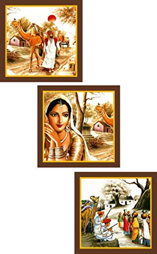 Go Hooked Rajasthani Art Paintings - Set Of 3
