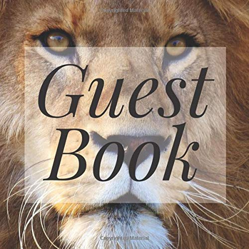 Guest Book: Lion Safari Animals - Signing Guestbook Gift Log Photo Space Book for Birthday Party Celebration Anniversary Baby Bridal Shower Wedding ... Keepsake to Write Special Memories In -
