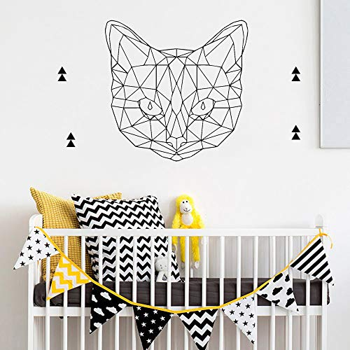 Linex Gatto Vinile Applique Wall Sticker Camera da Letto Decorazione Wall Sticker Carta da Parati Impermeabile Nero XL 58cm X 57cm