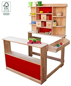 kaufladen verkaufsstand marktstand aus holz f r kinder fsc spielzeug. Black Bedroom Furniture Sets. Home Design Ideas