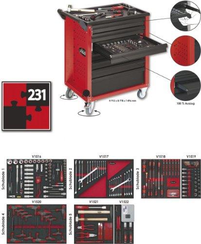 Vigor Werkstattwagen mit Satz, Anzahl Werkzeuge: 206, 913 x 778 x 496 mm, 1 Stück, V1483