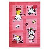 Kinder-Teppich Bambino Flachflor Modern Strichmännchen Herz Pink Kinderzimmer Größe 80/150 cm