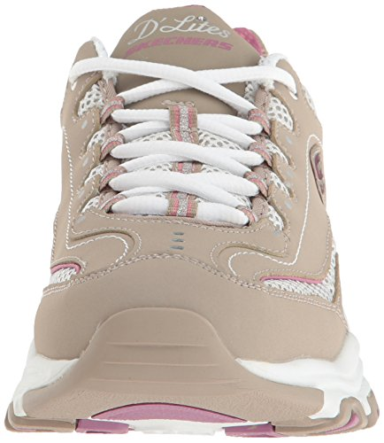 Skechers 11422 BKW D'Lites Extreme, Damen Sneaker Taupe Life Saver