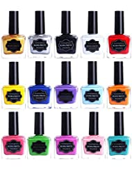 Born Pretty 15ml Nail Art Stamping Polish Colorful Sweet Candy Style Image Template Printing Polish Lacquer 15 Colors Set
