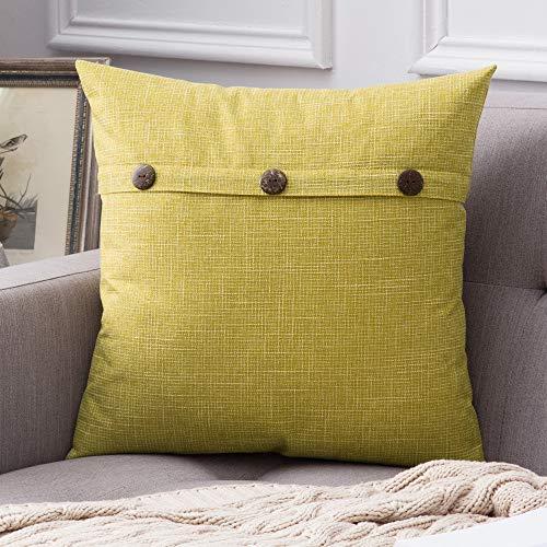 enoptik Home Kissenbezüge Dekorative Kissenhülle Leinen Einfarbig Kissenbezug Kissenbezüge für Sofa Schlafzimmer Auto Bed Decor mit Knopf 60x60cm Gelb ()