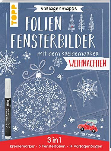 Vorlagenmappe Folien-Fensterbilder mit dem Kreidemarker - Weihnachtszauber. inkl. 5 Fensterfolien zum Bemalen und Ausschneiden und Original ... Kreul. Mit allen Motiven auch als Download.
