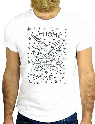 T SHIRT Z0677 TATTO NICE BIRD DOVE HOME SWEET HOME BEST FRIEND ROCK VINTAGE GGG24 BIANCA - WHITE