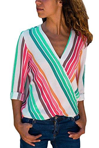 Elapsy Womens Casual V Neck Wrap Tops Long Sleeve Blouses Shirt