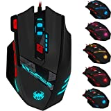 Zelotes T90 9200 DPI Gaming Maus,8 Tasten,13 LED Light Modi,gewicht tuning,USB Wired Gaming Mäuse für Pro Gamer PC MAC (Schwarz)