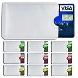 SHIELDIFY RFID & NFC Schutzhülle (10 Stück) für Bankkarte, Ausweis, Kredit-/EC Karte Kreditkartenhülle, Kartenschutzhülle mit RFID Blocker und 10 Farbsticker