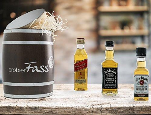 Walker Set (probierFass - WHISKY GESCHENKSET - 3 Whisky Klassiker verpackt in einem einzigartigen Holzfass - Johnnie Walker Red Label / Jack Daniel`s / Jim Beam - Das perfekte Spirituosen Geschenkset)
