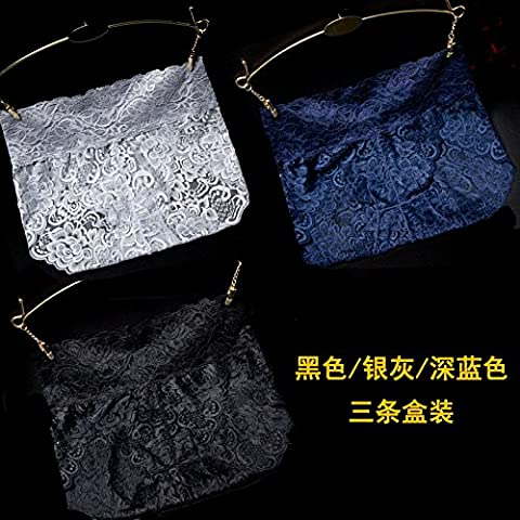 RRRRZ*In SEXY UNDERWEAR lace waist female temptation for larger hip 3 corner trousers pure cotton civil division 3 of the dark blue / replace ,M, black / gray