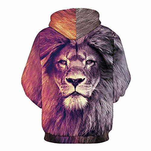 Herren Digitaldruck Kapuzenpullover Tops Fashion Hoodie Pullover Hooded Sweatshirt Lion