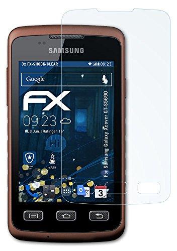 Samsung Galaxy Xcover (GT-S5690) Folie - 3 x atFoliX FX-Shock-Clear stoßabsorbierende ultraklare Panzerfolie Displayschutzfolie