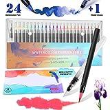 RATEL Rotuladores Acuarelables incluye 24 plumas de pincel de acuarela con punta de pincel de nylon flexible, 1 pluma de pincel de agua, 1 almohadilla de acuarela para libros