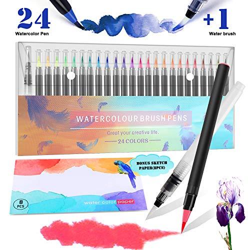 RATEL Pinselstifte Set Enthalten 24 Pinselstifte mit flexibler Nylonbürste Spitze, 1 Wasserpinselstift, 1 Aquarellunterlage für Malbücher, Kalligraphie, Zeichnen und Schreiben - ungiftig